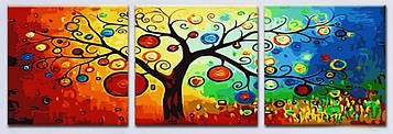 Картина по номерам 50х150 см. Триптих Babylon Денежное дерево (DZ-3011)