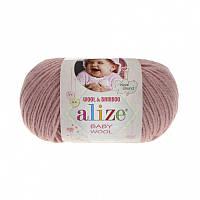 Пряжа Baby Wool 50гр - 175м (161 Пудра) Alize, Детская пряжа (40%-шерсть, 20%-бамбук, 40%-акрил,Турция