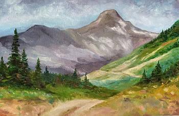 Картина горный пейзаж маслом на картоне 20х30см