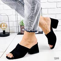 Женские замшевые шлепки на удобном каблуке, ОВЛ 1399, фото 1