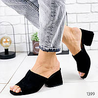 Женские замшевые шлепки на удобном каблуке, ОВЛ 1399