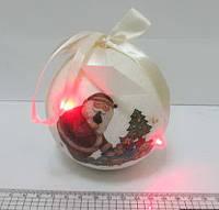 """Шары новогодние белый глиттер+глянц.""""Дед Мороз с подарками""""5 LED 100MM 1PCS"""