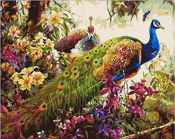 Картина по номерам 40×50 см. Mariposa Сказочные павлины (Q 348)