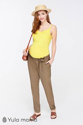 Тонкие брюки для беременных цвета хаки, размеры от 44 до 50, фото 2