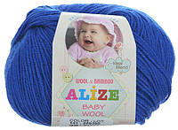 Пряжа Baby Wool 50гр - 175м (141 Синий) Alize, Детская пряжа (40%-шерсть, 20%-бамбук, 40%-акрил,Турция