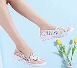 Туфлі мокасини білі з рожевим жіночі натуральна шкіра Т1067, фото 7