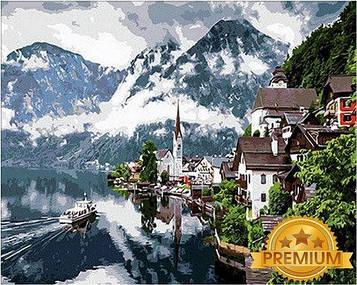 Картина по номерам 40×50 см. Babylon Premium (цветной холст + лак) Гальштат Австрия (NB 352)