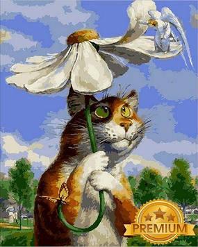 Картина за номерами 40×50 див. Babylon Premium (кольоровий полотно + лак) Кіт з ромашкою Художник Володимир