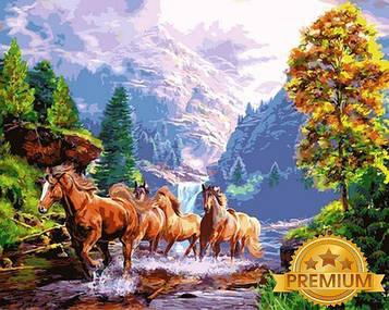 Картина за номерами 40×50 див. Babylon Premium (кольоровий полотно + лак) Дикі коні (NB 924)