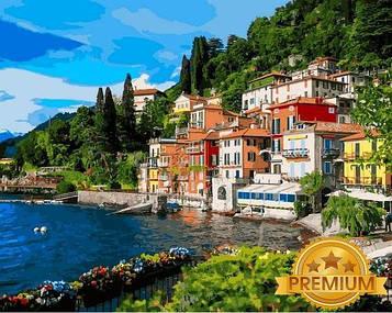Картина по номерам 40×50 см. Babylon Premium (цветной холст + лак) Оз Комо,Ломбардия на севере Италии (NB1086)