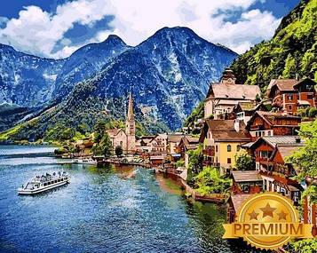 Картина по номерам 40×50 см. Babylon Premium (цветной холст + лак) Гальштат Австрия (NB1087)
