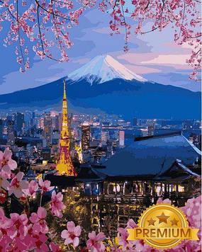 Картина за номерами 40×50 див. Babylon Premium (кольоровий полотно + лак) Йокогама і гора Фудзіяма (NB1112)