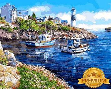 Картина за номерами 40×50 див. Babylon Premium (кольоровий полотно + лак) Морська бухта Художник Сун Сем Парк
