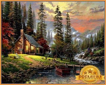 Картина по номерам 40×50 см Babylon Premium (цветной холст + лак) Охотничий домик Худ Томас Кинкейд (NB 1261)