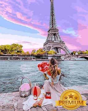 Картина по номерам 40×50 см. Babylon Premium (цветной холст + лак) Свидание в Париже (NB 1237)