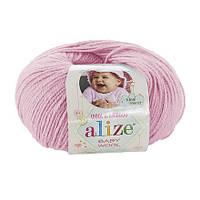 Пряжа Baby Wool 50гр - 175м (185 Розовый) Alize, Детская пряжа (40%-шерсть, 20%-бамбук, 40%-акрил