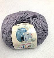Пряжа Baby Wool 50гр - 175м (119 Серый) Alize, Детская пряжа (40%-шерсть, 20%-бамбук, 40%-акрил,Турция