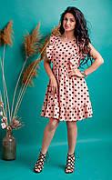 Летнее платье в горошек персиковое, фото 1