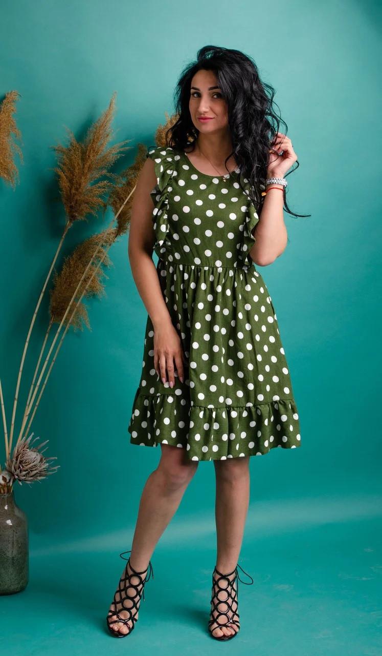 Платье в горошек из льна зеленое