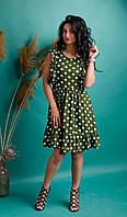 Платье в горошек из льна зеленое, фото 1