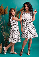 Льняное платье в горошек белое, фото 1