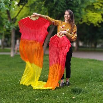Веер-вейл бамбуковый для танца живота красно-желтый 1.8м