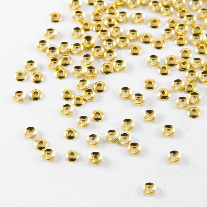 Шапочки для Бусин, Латунь, Круглые, Цвет: Золото, Размер: 3х0.8мм, Отверстие 1мм, около 150шт/3г/ Упак.: 3 г