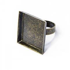 Основа для кольца, Латунь, под кабошон, Цвет: Бронза, Размер: Диаметр 17мм, Размер Основы: 25х25мм, 2 шт