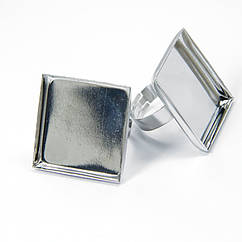 Основа для кільця, Латунь, під кабошон, Колір: Платина, Розмір: Діаметр 17мм, Розмір Основи: 25х25мм,