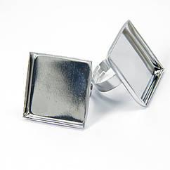 Основа для кольца, Латунь, под кабошон, Цвет: Платина, Размер: Диаметр 17мм, Размер Основы: 25х25мм, 2 шт