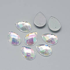 Пришивные Акриловые Стразы АВ-цвет, 2 отверстия, Капля, Цвет: Бесцветный, Размер: 30x16x5мм, Отв-тие 0.8~1мм, (УТ100014965)