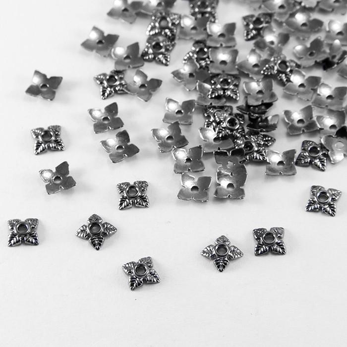 Шапочки для Бусин, Сплав, Цветок, Цвет: Оружейная Сталь, Размер: 6х6х2мм, Отверстие 1мм/ Упак.: 100 шт