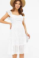Элегантный женский сарафан на лето белого цвета из хлопка. Женские сарафаны на лето.