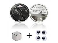 Пластилін магнітний Magnetic Putty в металевому боксі магніт 4 очі  Чорний