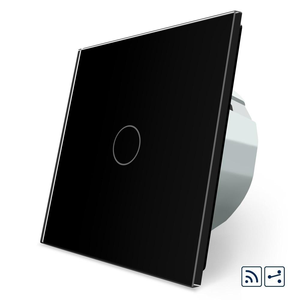 Сенсорный радиоуправляемый проходной выключатель Livolo черный стекло (VL-C701SR-12)