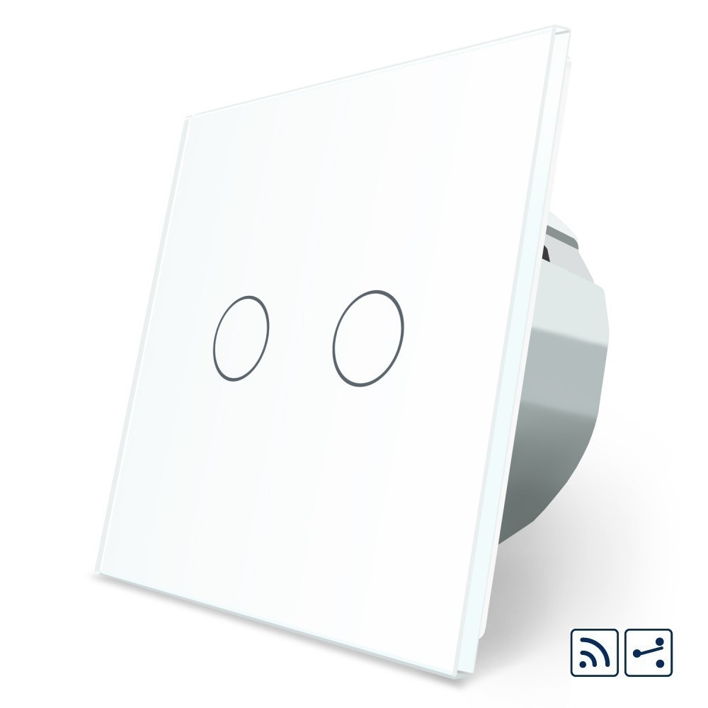 Сенсорный радиоуправляемый проходной выключатель Livolo 2 канала белый стекло (VL-C702SR-11)