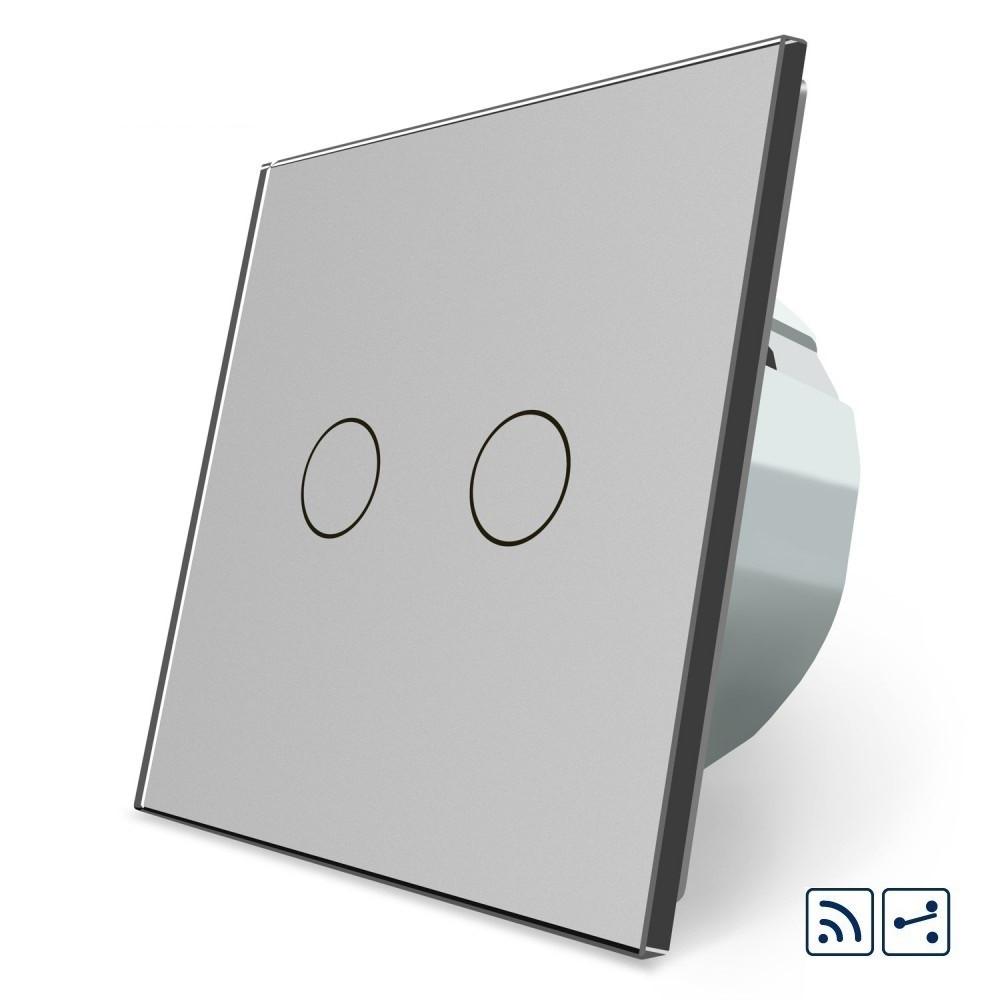Сенсорный радиоуправляемый проходной выключатель Livolo 2 канала серый стекло (VL-C702SR-15)