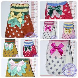 Оптом рукавиці дитячі в'язані подвійні - різні кольори - 14-5-29