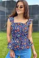 Стильная женская блузка YI MEI SI - синий цвет, L (есть размеры), фото 1