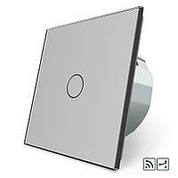 Сенсорный радиоуправляемый проходной выключатель Livolo серый стекло (VL-C701SR-15), фото 1