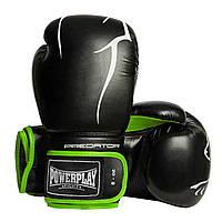 Боксерские перчатки PowerPlay 3018 черно-зеленые 8 унций