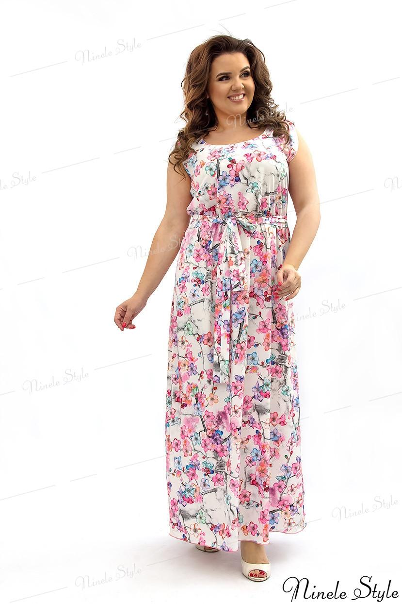 Легкое летнее женское платье с цветочным принтом 181-1
