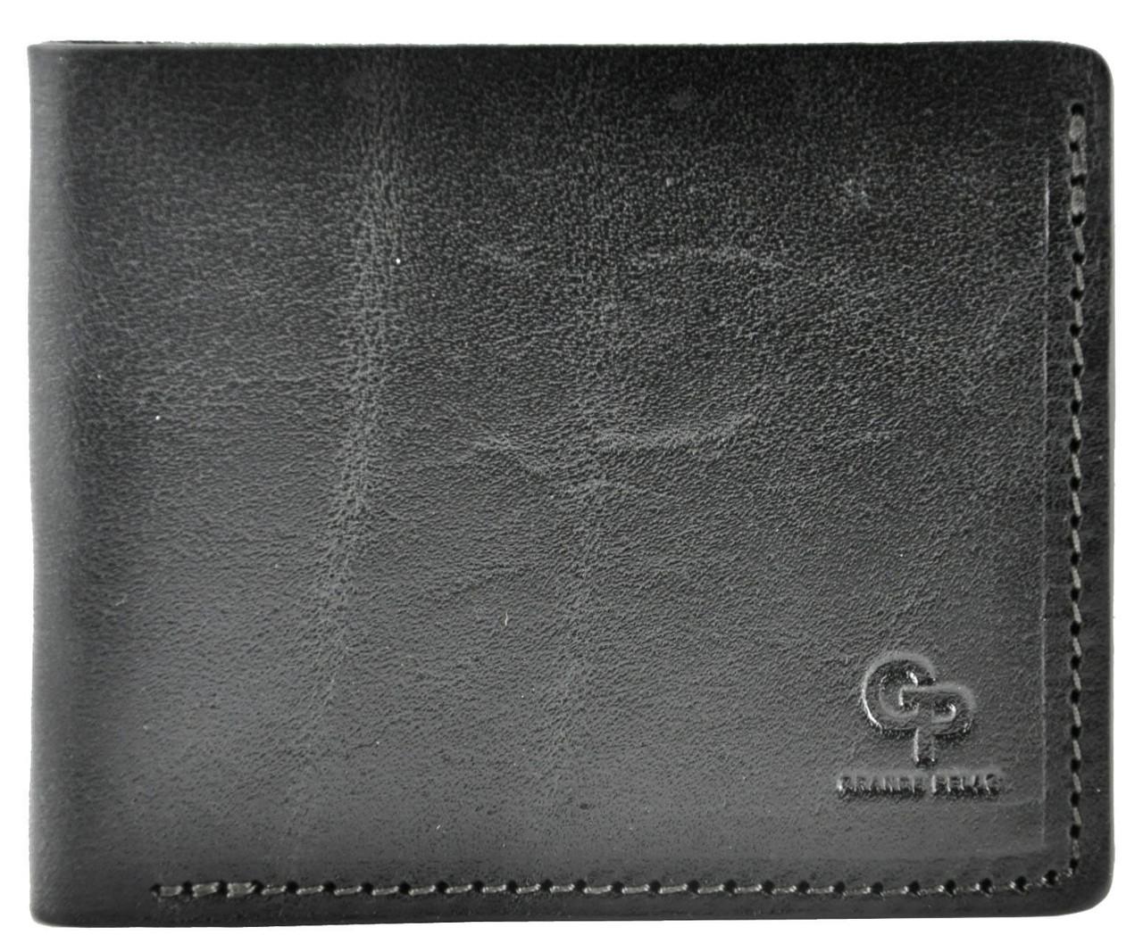 Мужской кошелек кожаный Grande Pelle на магните черный
