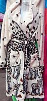 Халат махровый средней длины с леопардовым принтом
