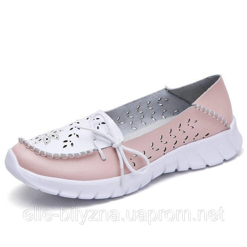 Туфли мокасины белые с розовым женские натуральная кожа Т1067