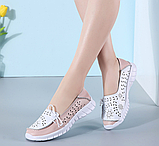 Туфли мокасины белые с розовым женские натуральная кожа Т1067, фото 4