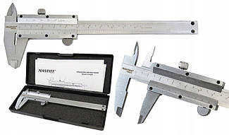 Штангенциркуль Mastiff ШЦ-100 (0-100 мм; ±0,02 мм) з глибиноміром. Німеччина