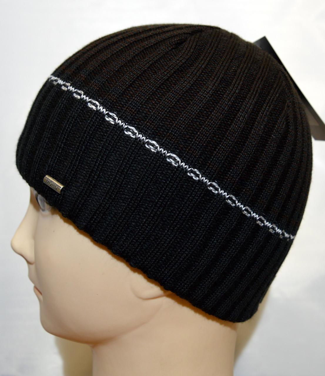 Мужская вязаная шапка на флисе 15047А черный+коричневый