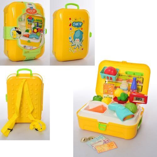 Магазин 8741 (48шт) сканер, продукты, 21предм,в чемодане-рюкзаке,карт.оберт,18-24-10см