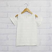 Блузка детская  с коротким рукавом для девочки с открытыми плечами, батист, Breeze